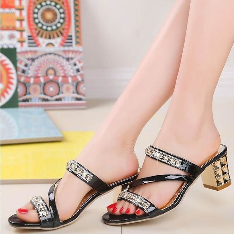 recognized brands price reduced purchase cheap 2018 Summer Fashion Women Diamond Open Toe Shoes Sexy Slippers Non ...