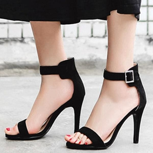 New Womens Sandals Stiletto Mid Heels Buckle Faux Suede Open Toe Casual Shoes