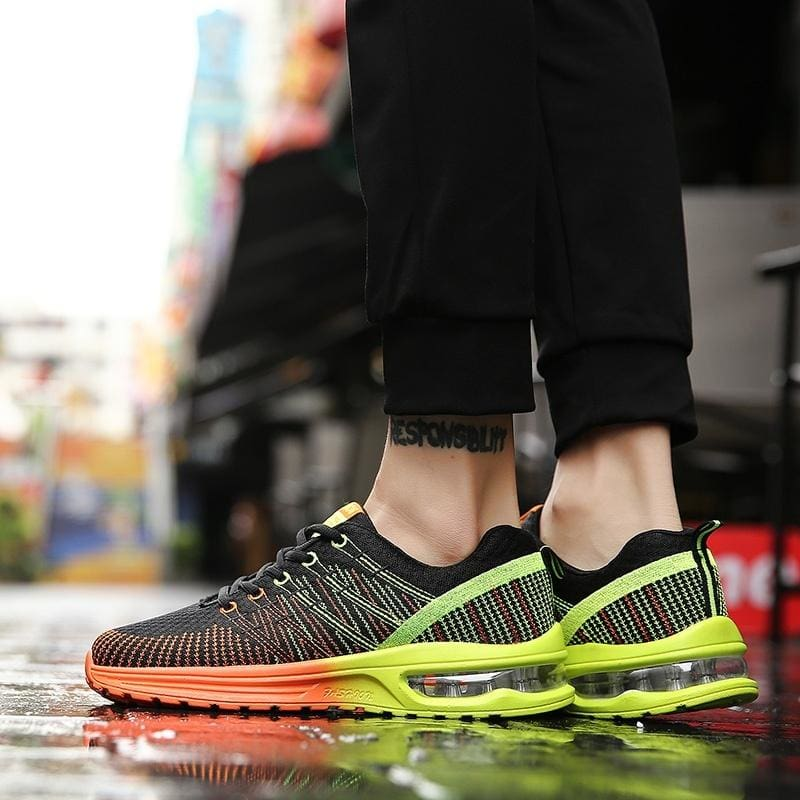 Men/'s Fly-Knit Jogging Sneakers Breathable Trainers Air Cushion Running Athletic