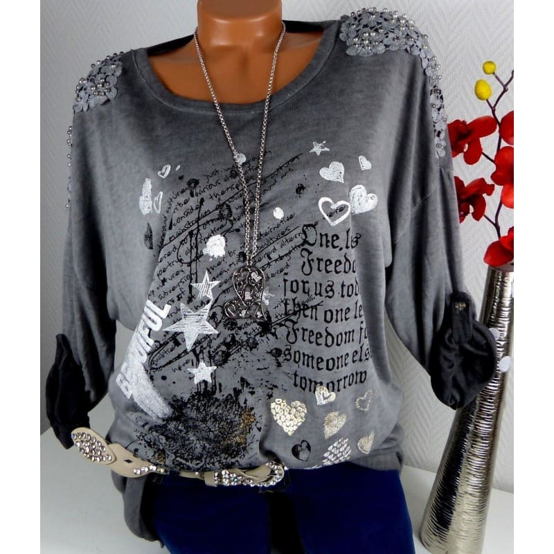 2018 Womens Fashion Floral Printing Long Sleeve Lace Patchwork Tops Loose Cotton T-shirts