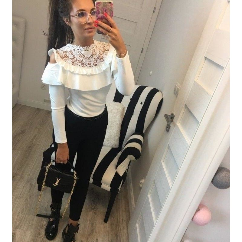 2018 Women;s Winter Lotus Leaf Lace Collar Long-sleeved T-shirt