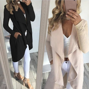 Black and white women cardigan jackets solid color style Leather long-sleeved