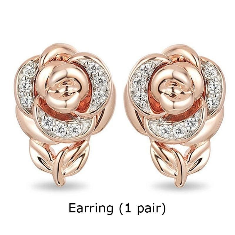 Charm Women Elegance Rose Gold Crystal Necklace Ring Earring Jewelry Sets Gift