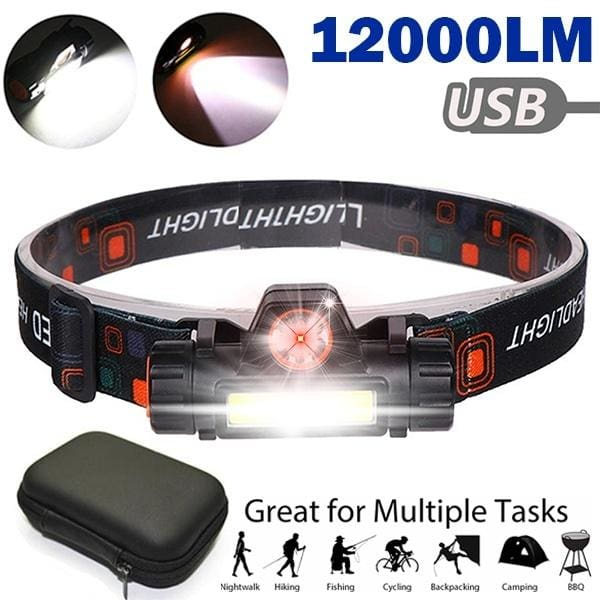 12000LM Led Headlight Headlamp Head Torch 18650 Fishing Work Light Camping ZP