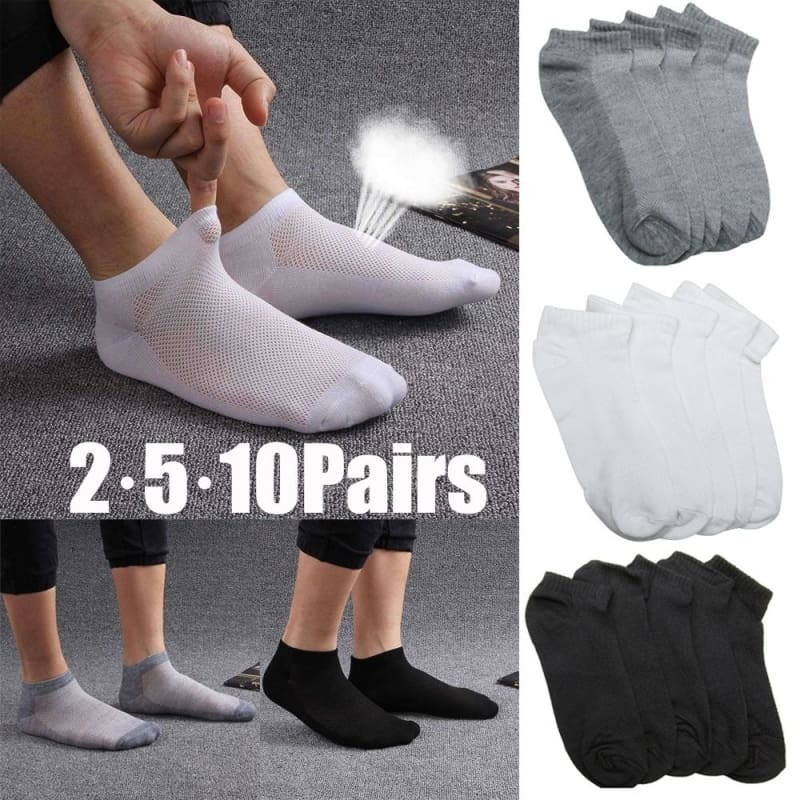 5 Colors Mens Cotton Blend Breathable Sport Socks Ankle Low Cut Crew Casual New