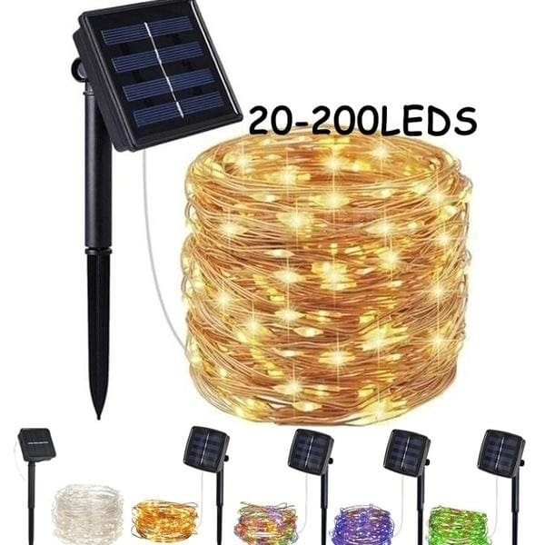 20 M 200 LEDS Solar String Lights Waterproof Copper Wire Fairy Outdoor Garden UK