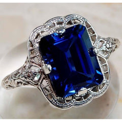1CT Ruby & Sapphire 925 Sterling Silver Vintage Style Ring Jewelry Sz 7 PO32