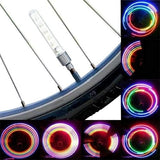 2PCS LED Sense Lamp Colorful Bicycle Bike Tyre Tire Wheel Valve Cap Spoke Neon 5 LED Flash Light