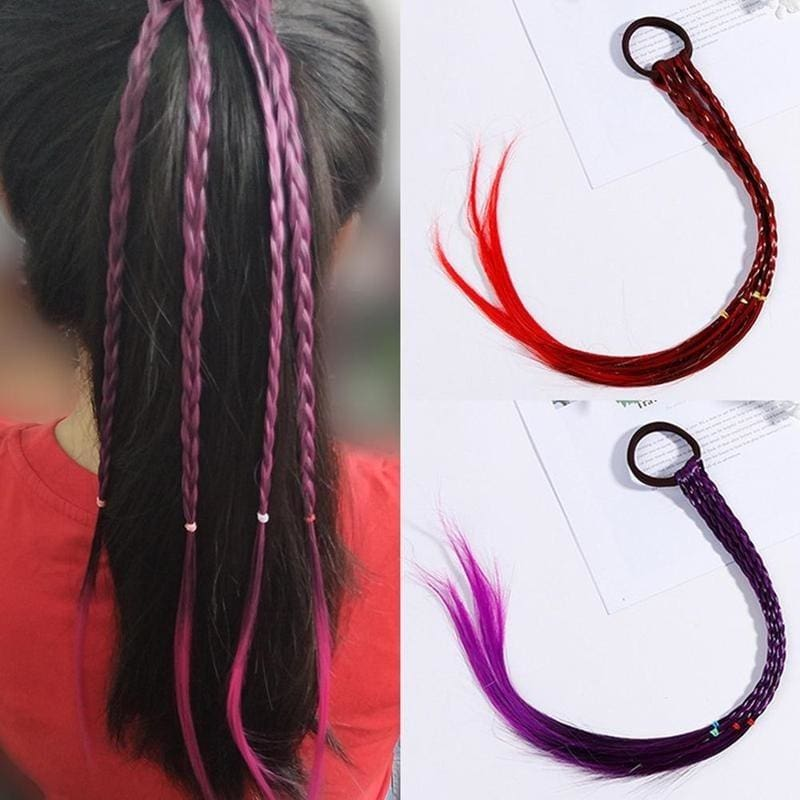 Kids Twist Braid Colorful Hair Ornament Rubber Bands Wig Ponytail  Headband