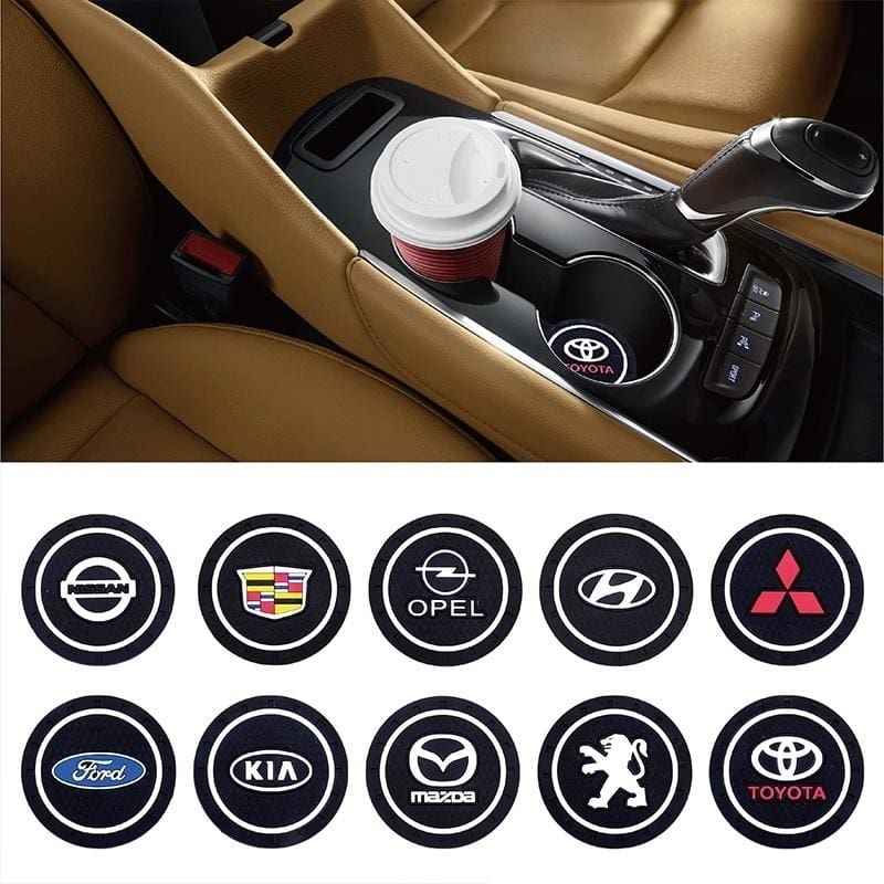 2Pcs//Set Black Car Cup Holder Pad Mat Water Cup Coaster Anti-slip Accessories