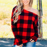 3 Colors Plus Size S-3XL Off The Shoulder Long Sleeve T-shirt Sexy Casual Plaid Off The Shoulder Blouse Loose Fitting Crop Top