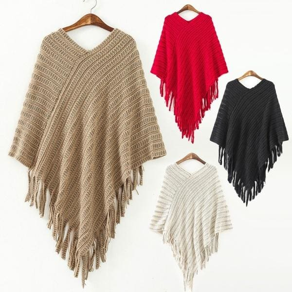 3 Colors Plus Size Winter Warm Women Knit Batwing Cape Tassels Poncho Cloak Jacket Coat Outwear