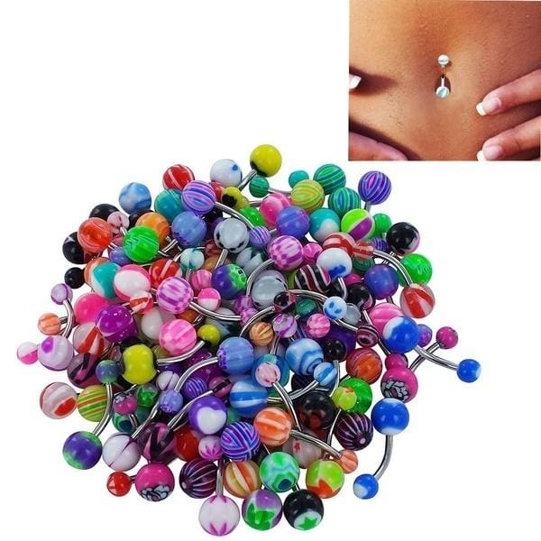 10 Pcs Trendy Navel Belly Button Barbell Bar Ring Round Plastic Ball For Women