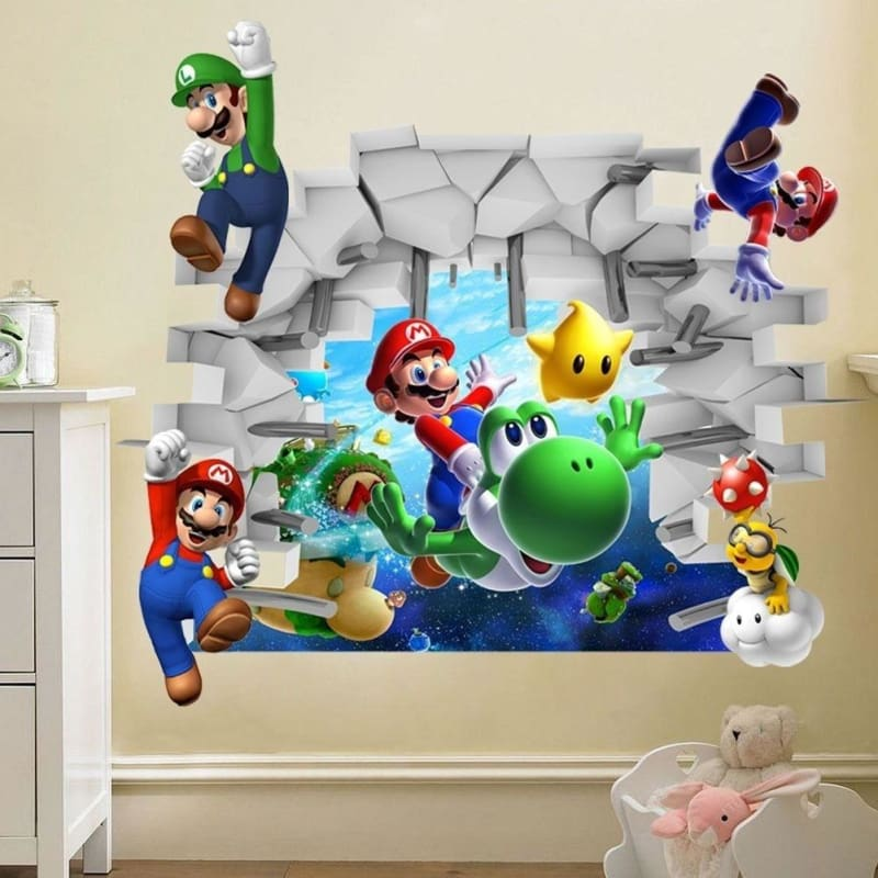 Super mario game cartoon wall stickers for kids room decorative PVC Wall Sticker