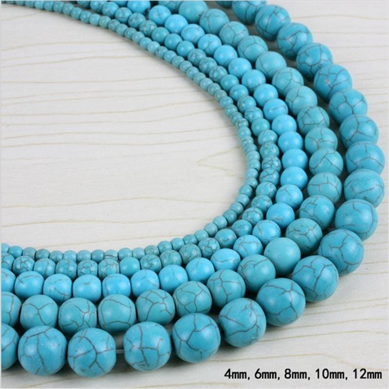 100pcs 4mm 6mm 8mm 10mm Round Loose Turquoise Charm Spacer Beads