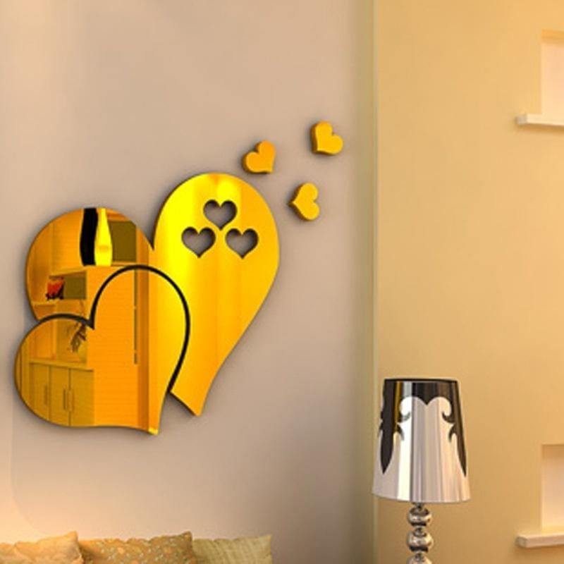 Decal Mural Wall Sticker Home Room DIY Decor Removable Modern Mirror Love Hearts