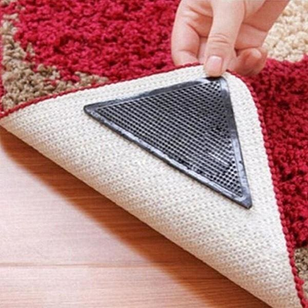 4 X Carpet Mat Rug Grippers Non Slip Anti Skid Washable Silicone Grip Reusable