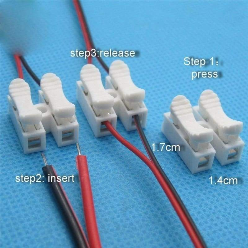 No Solding Welding Terminal Block Spring Clamp No Screw 2P Cable Wire Connector