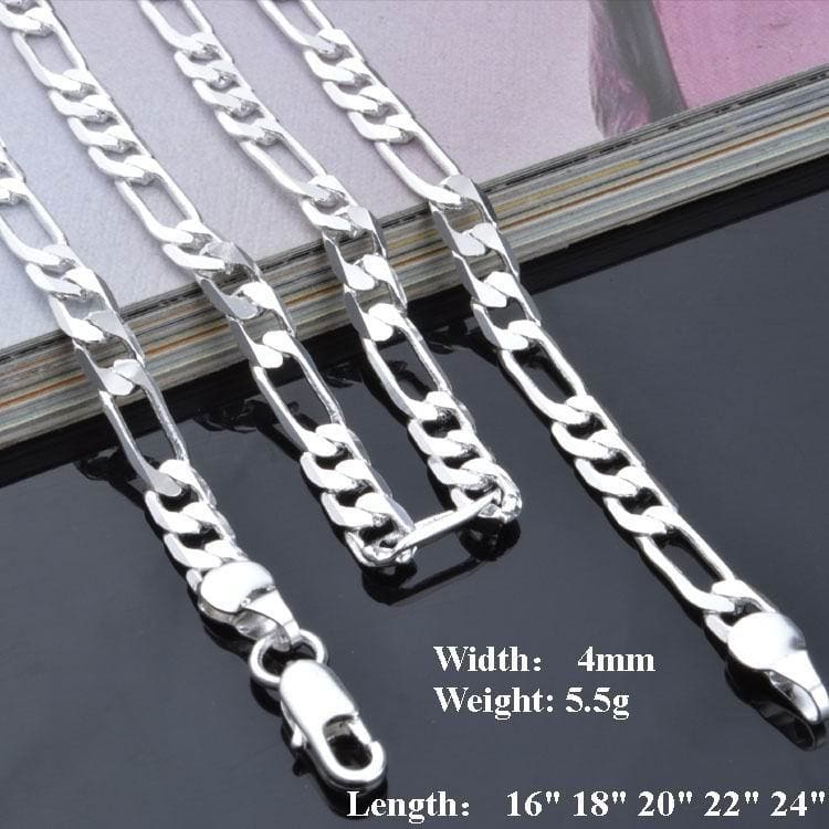 4mm 925 Sterling Silver plated Italian Curb Link Chain Necklace 18 inches