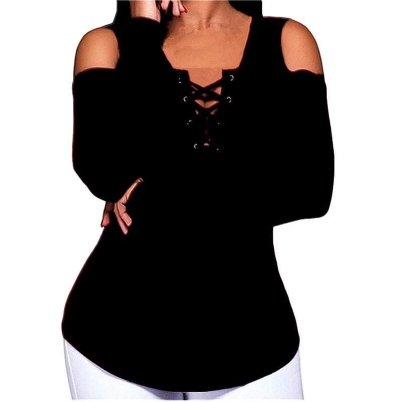 5 Color Plus Size Autumn and Winter Fashion Woman Sexy Slim V Collar Strapless Long Sleeved T-shirt S-5XL