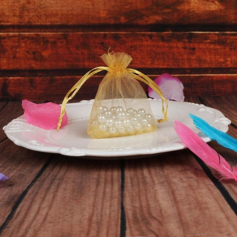 25//50//100Pc Gold//Silver Organza Wedding Favor Party Candy Gift Bags Pouch 12x9CM