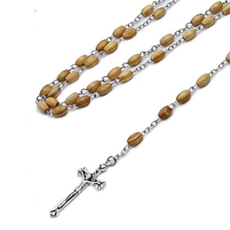 58CM Religious Jewelry Handmade Natural Pine Wood Round Beads Prayer Cross Necklace