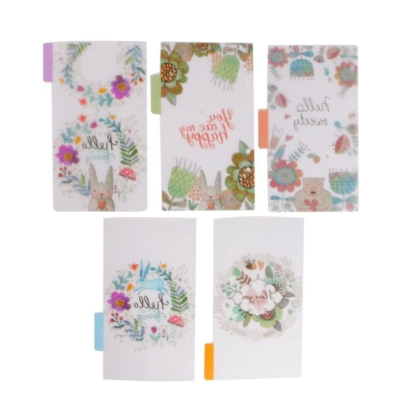 5pcs Floral Category Page Planner Index Page Notebook Translucent