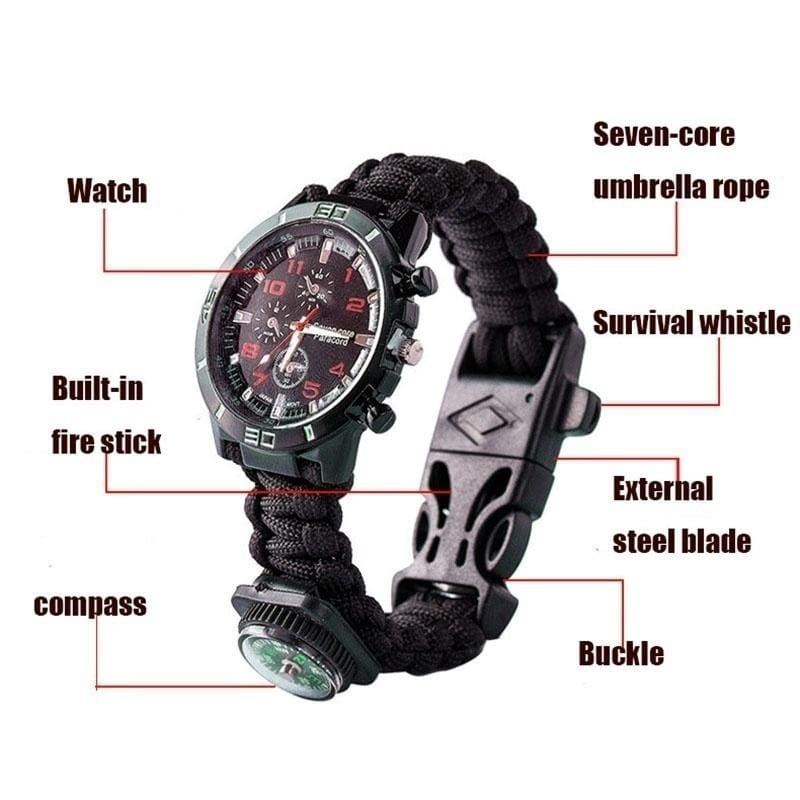 7 in 1 Rope Paracord Survival Bracelet Flint Fire Starter Compass Whistle Outdoo