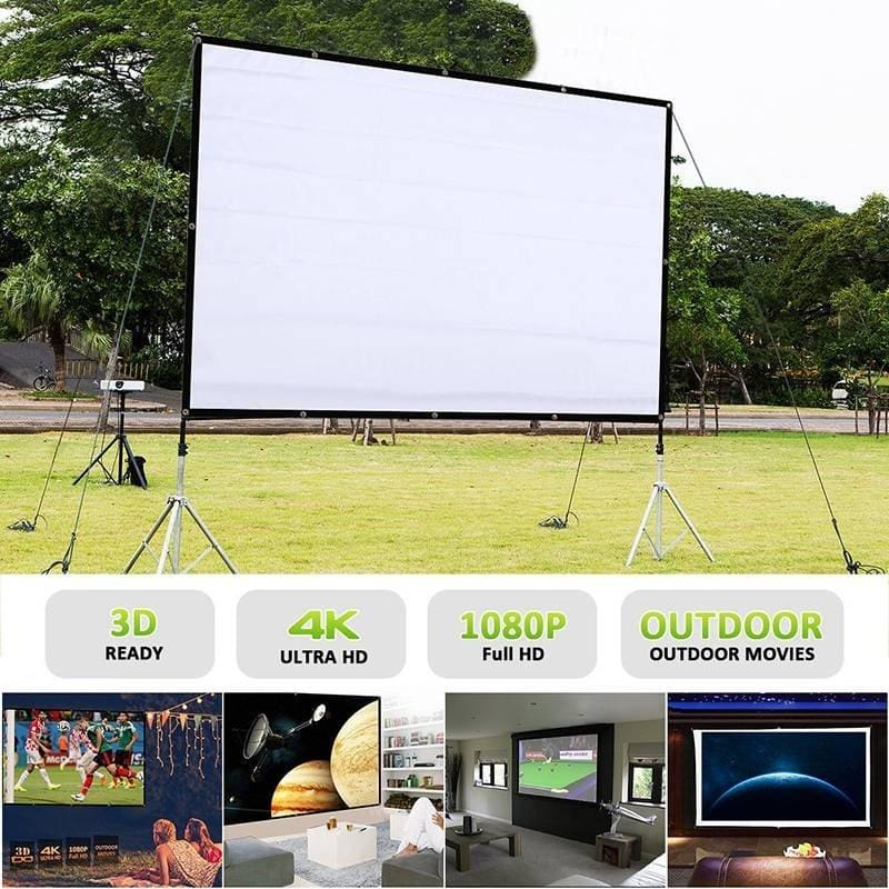 "60/""//120/""//150/"" Portable Foldable Wall Projector Screen 16:9 Home Theater Outdoor"