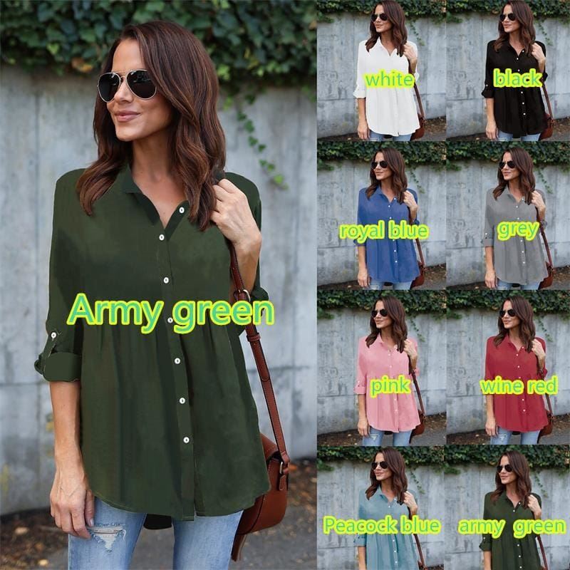 8 Colors S-5XL Plus Size Tops Fashion Women Chiffon Shirts Long Sleeve Lapel Shirt Casual Button Blouse Loose 3/4 Sleeve T Shirts
