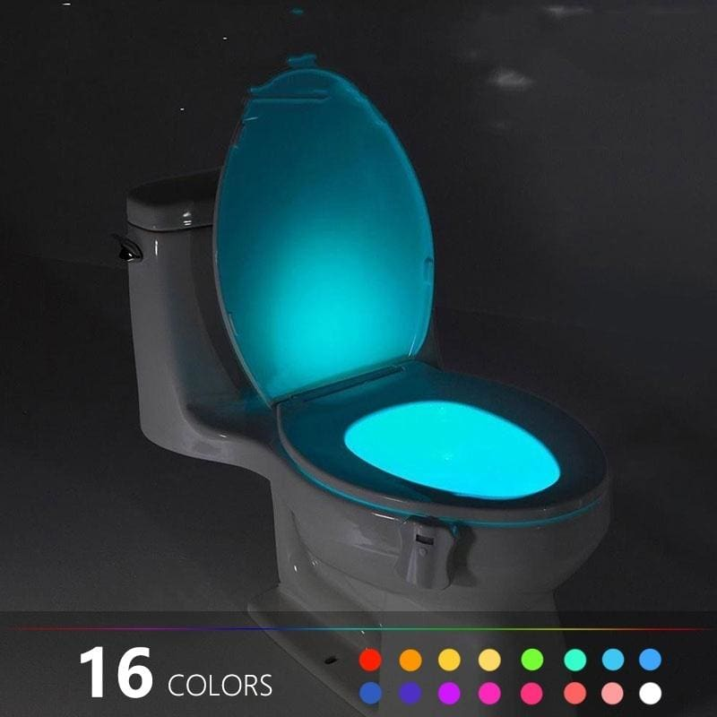 Battery Operated Toilet Night Light Motion Sensor 2 Pack PIR Motion Activated 16 Color Changing,Inside Toilet Bowl Seat Light LED for Bathroom Washroom