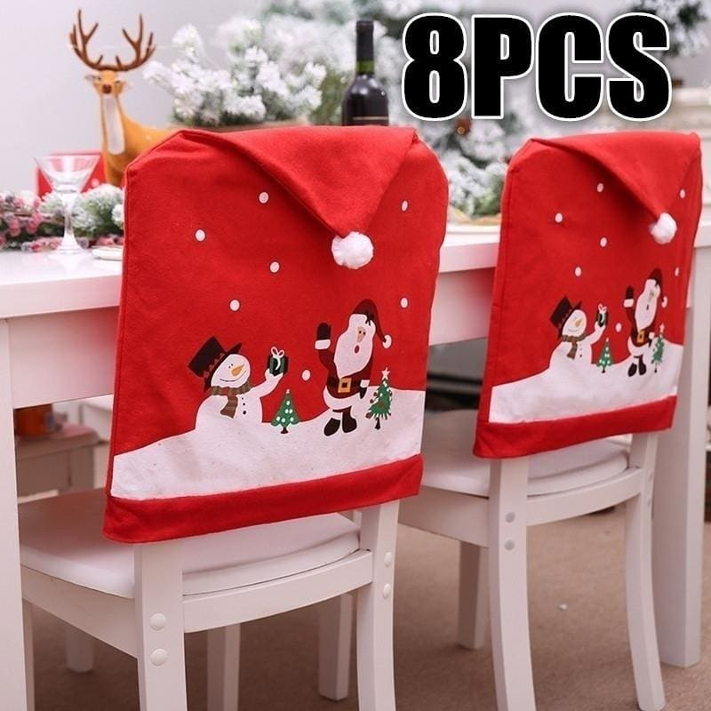Christmas Santa Claus Printed Spandex Stretch Protector Chair Cover Party Decor