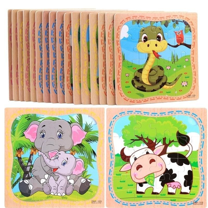 Wooden Puzzle Educational Developmental Baby Kids Training Toy Christmas Gift