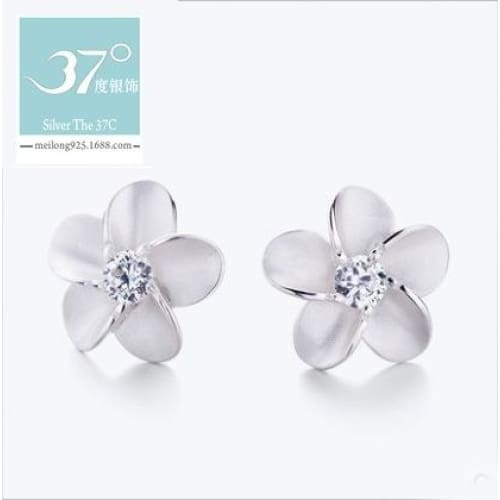 Silver Plumaria CZ Stud Earrings Sterling Silver 925 Best Price Jewelry Gift