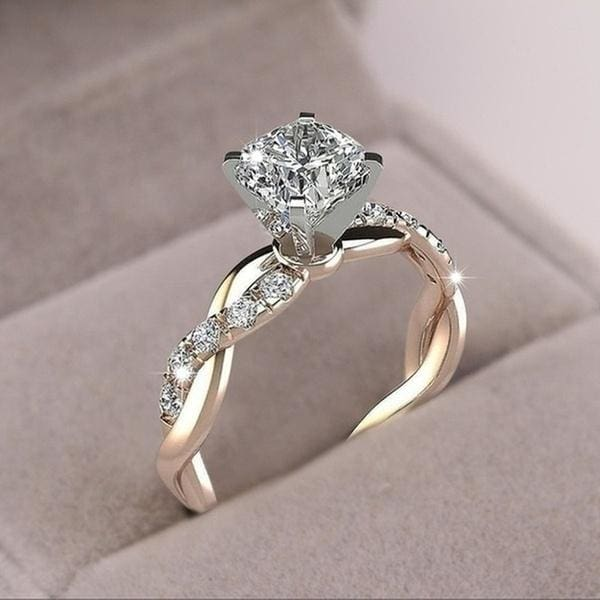 925 Sterling Silver Twisted Shape Diamond Ring Wedding Band 18kgp