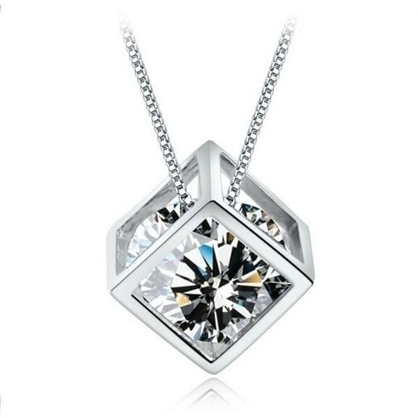 Silver Woman Man Crystal Diamond Necklace and Pendant Square Style