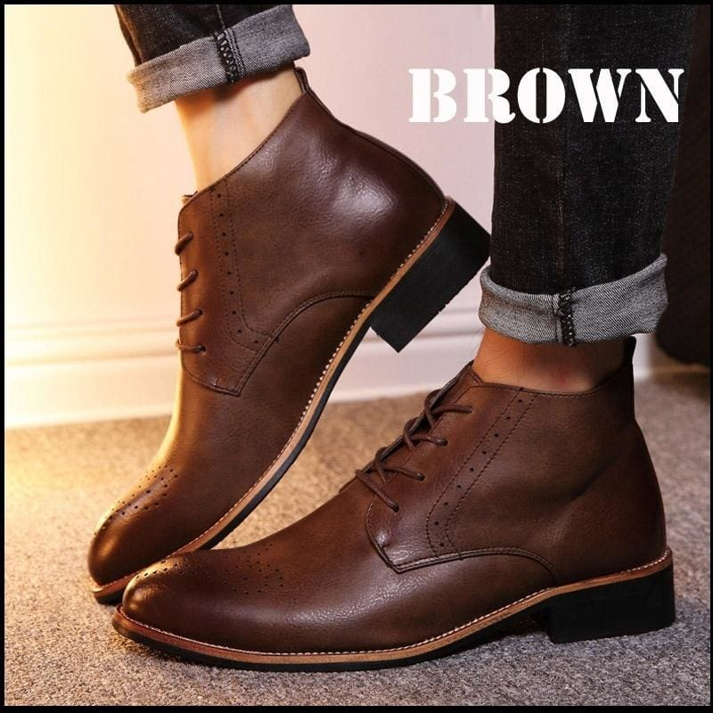 Autumn and Winter Men's Fashion Business Dress Leather Shoes Oxford Flat Shoes Ankle Boots Martin Boots High Quality Lace Leather Shoes Oxfords Shoes