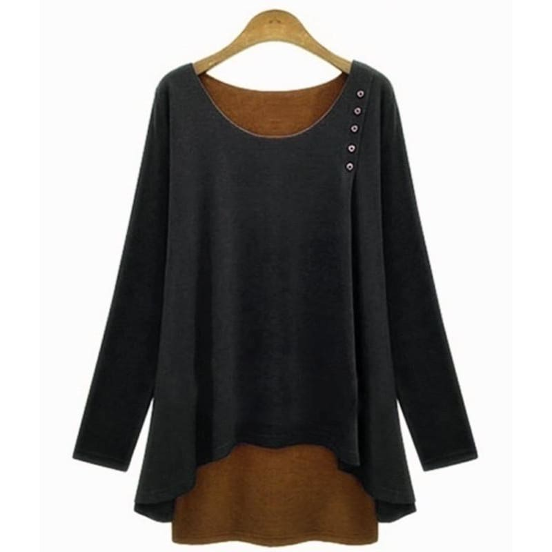 Autumn Winter Fashion Long Sleeve Two Pieces Patchwork Loose T Shirt M-5XL