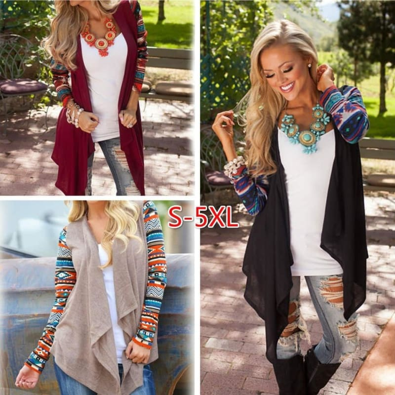 Women/'s Irregular Lace Splicing Knitted Cardigan Loose Sweater Jacket Coat Tops