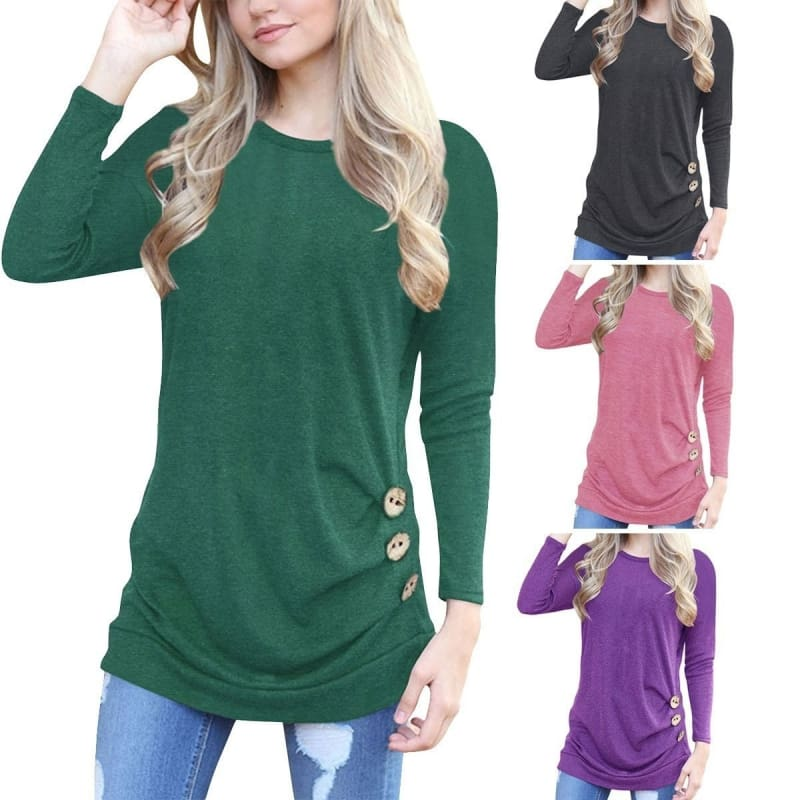 Casual Women Gradient Color Long Sleeve T-shirt Tops Ladies O Neck Loose Blouse
