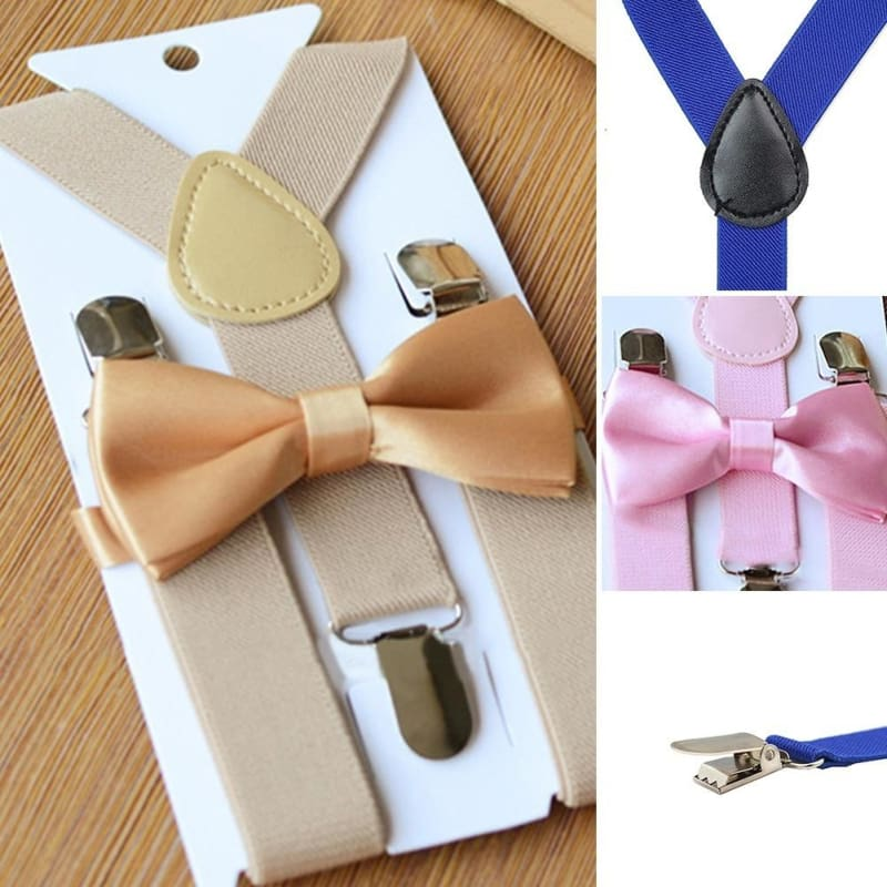 Solid Clip-on Suspenders with Bow Tie Boy Girl Elastic Adjustable Braces Suit