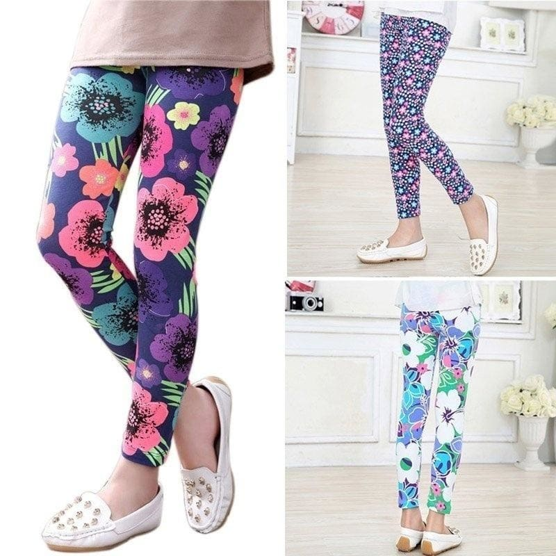 Toddler Kid Girl Baby Flower Cotton Pants Stretch Warm Leggings Tight Trousers