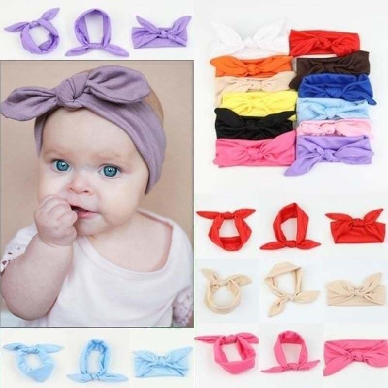 Fashion Baby Girl Kid Fabric Hair Band Soft Elastic Turban Bow Headband Headwrap