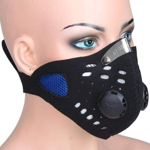 Bicycle Motorcycle Ski Cycling Anti-pollution Face Mask Outdoor Sports Mouth-muffle Dustproof Filter Blue W_C