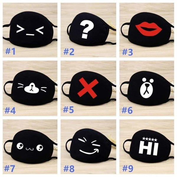 Women Men Cotton Face Masks Pattern Black Solid Mask Half Face Mouth Muffle