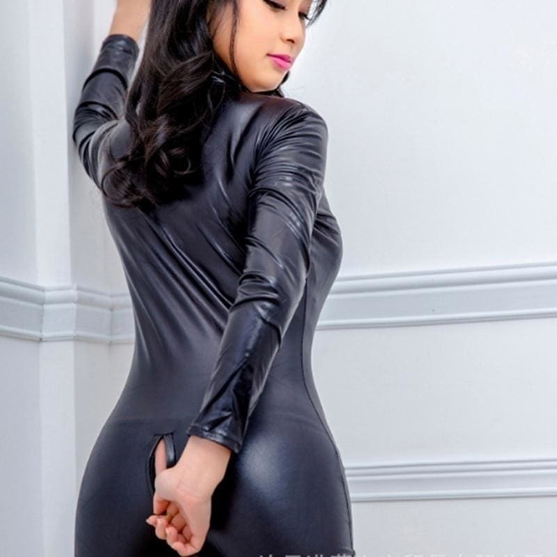 Black Leather Catsuit High Stretchy Jumpsuit Bodysuit Front Zipper Open Crotch Catsuit