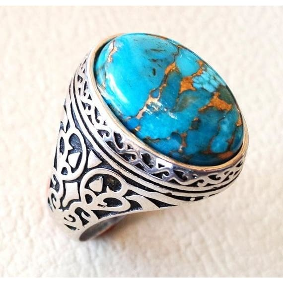 Blue Opal 18K Gold Plated Women Jewelry Gems Ring Size 6 7 8 9
