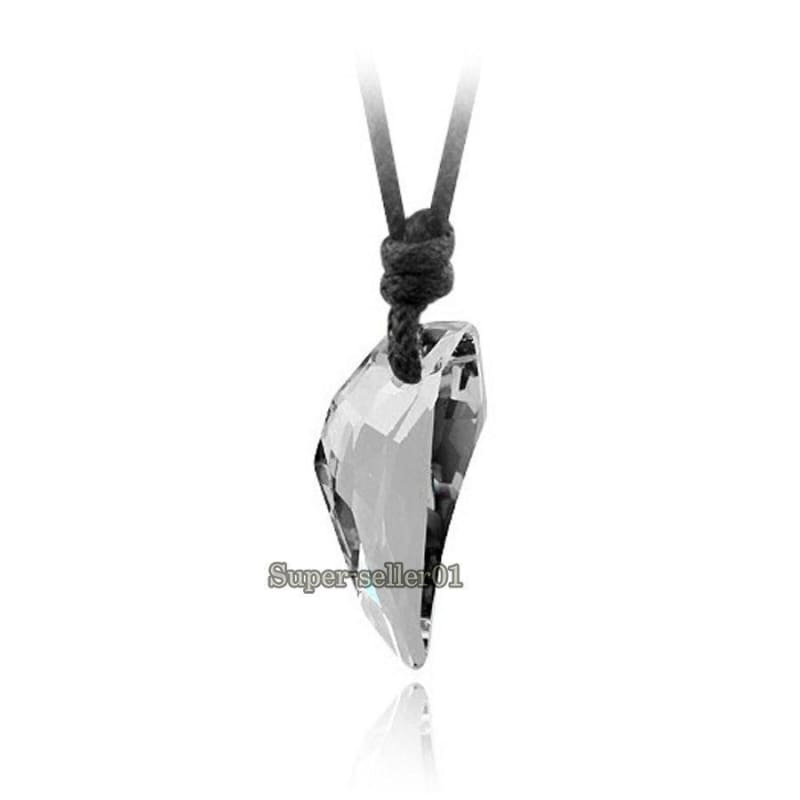 2pcs Womens Mens Stainless Steel Wolf Tooth Pendant Couple Necklace Leather Cord