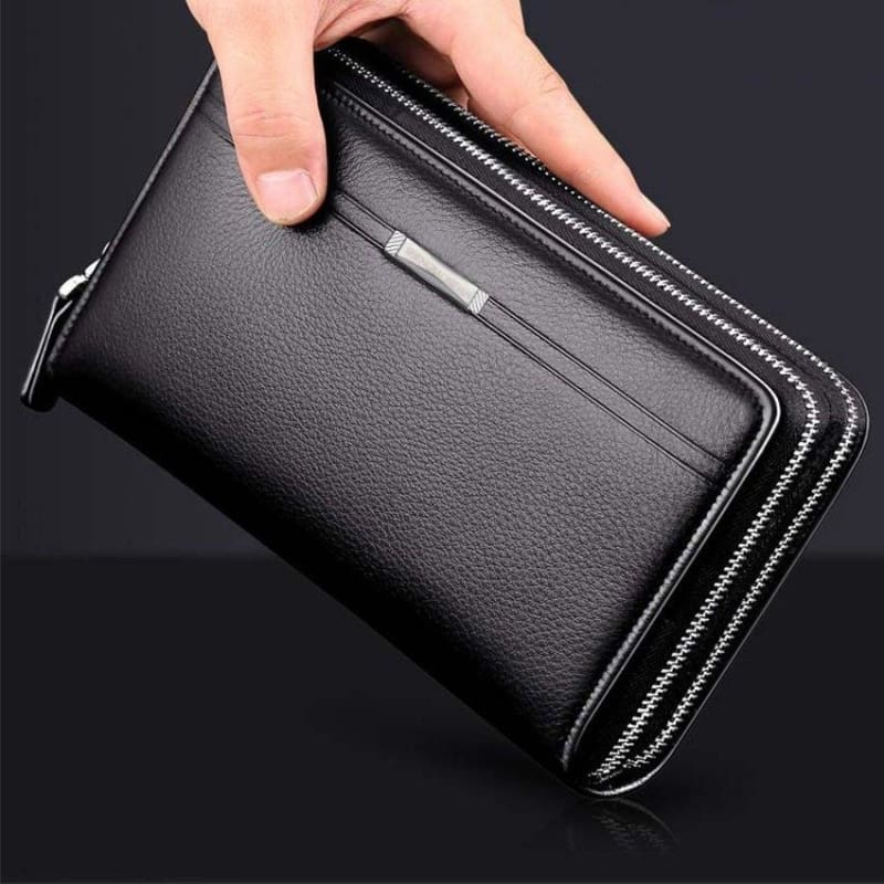Business Men Wallets Long PU Leather Cell Phone Clutch Wallet Purse Hand Bag Top Zipper Large Wallet Card Holders