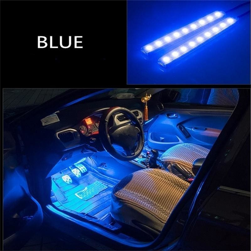 4x 3 LED Car Charge Floor Decorative Atmosphere Lamp Light Interior Accessories